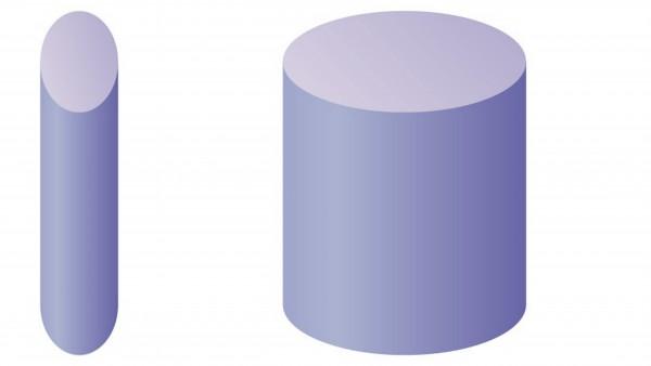 細い円柱と太い円柱